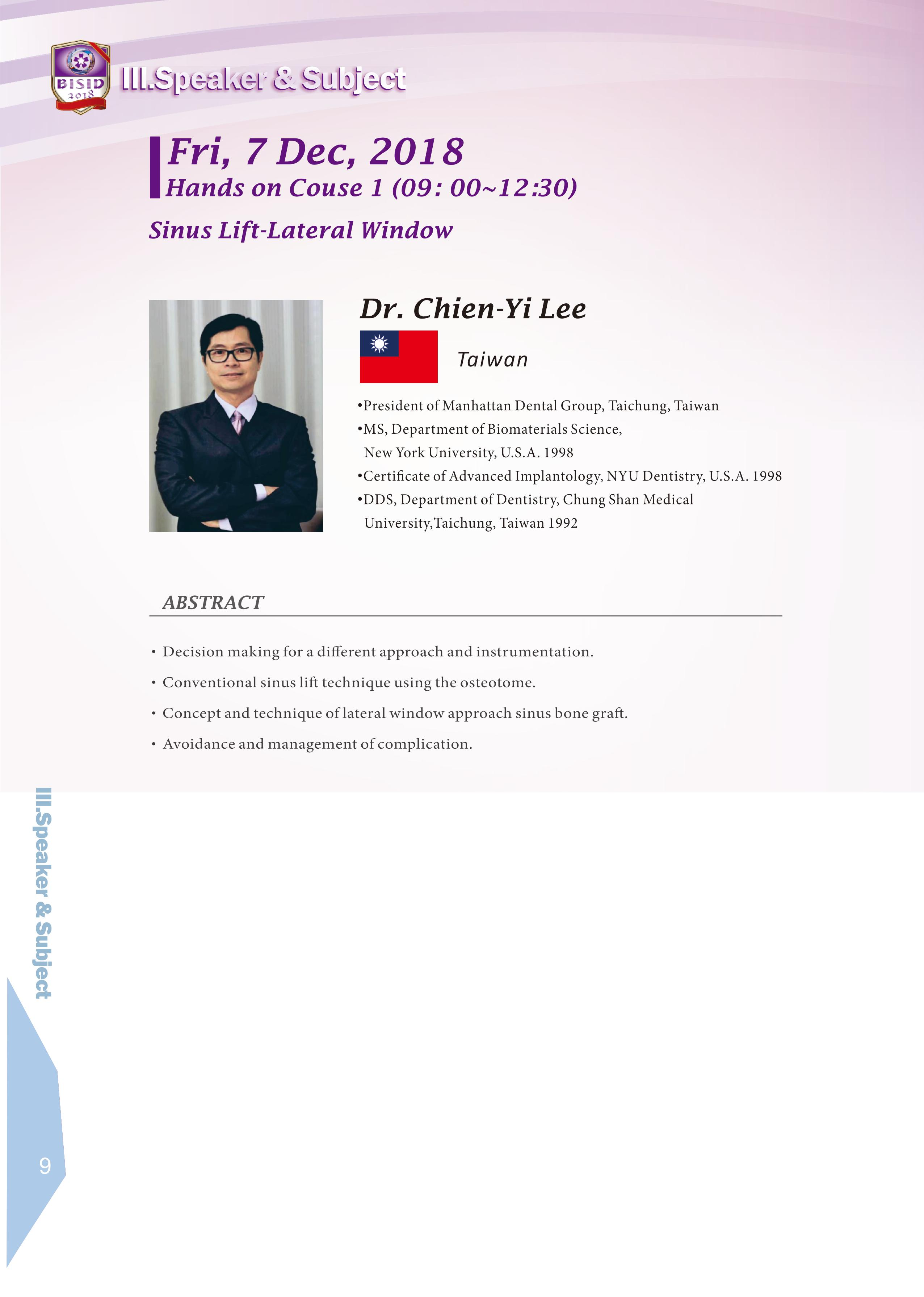 Biomate Internation Symposium of Implant Dentistry-Dr.Chien-Yi Lee