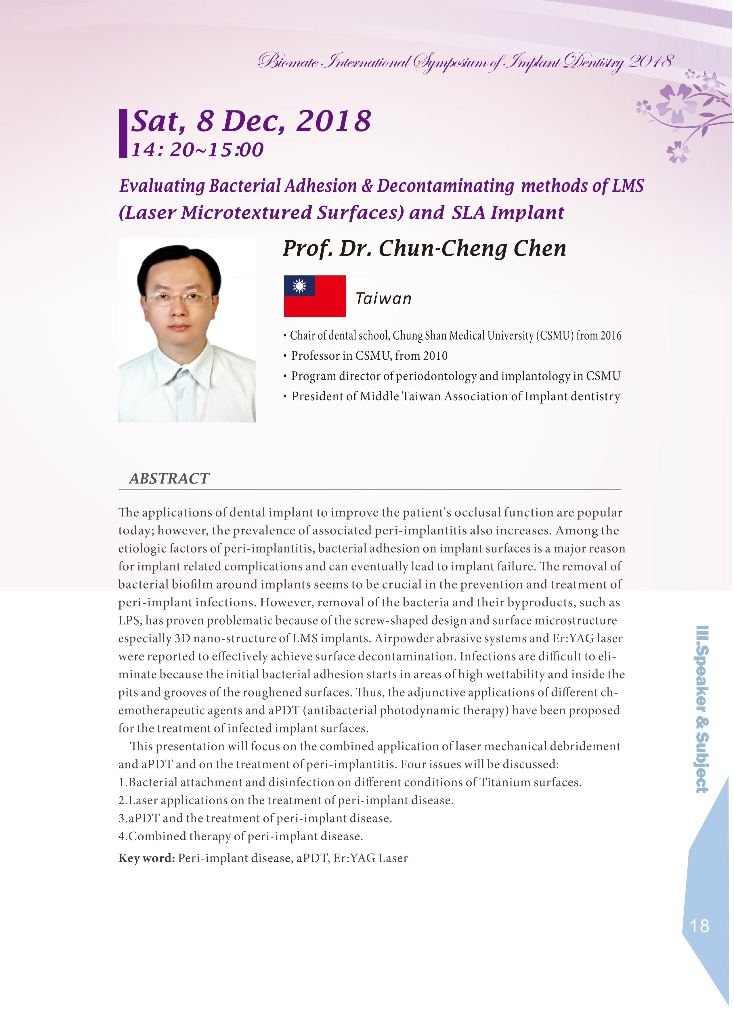 Biomate Internation Symposium of Implant Dentistry-Prof.Dr.Chun-Cheng Chen