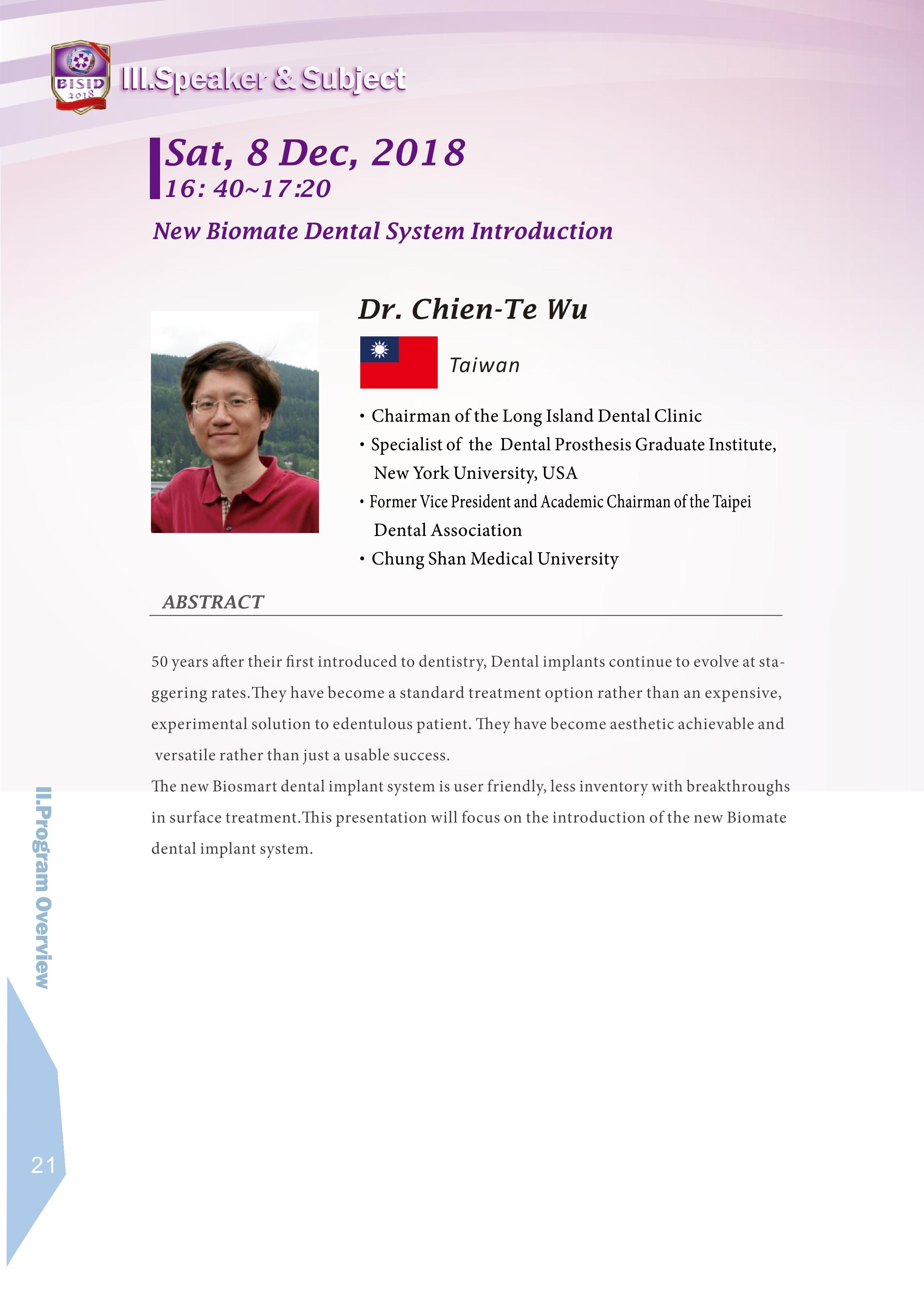 Biomate Internation Symposium of Implant Dentistry-Dr.Chien-Te Wu