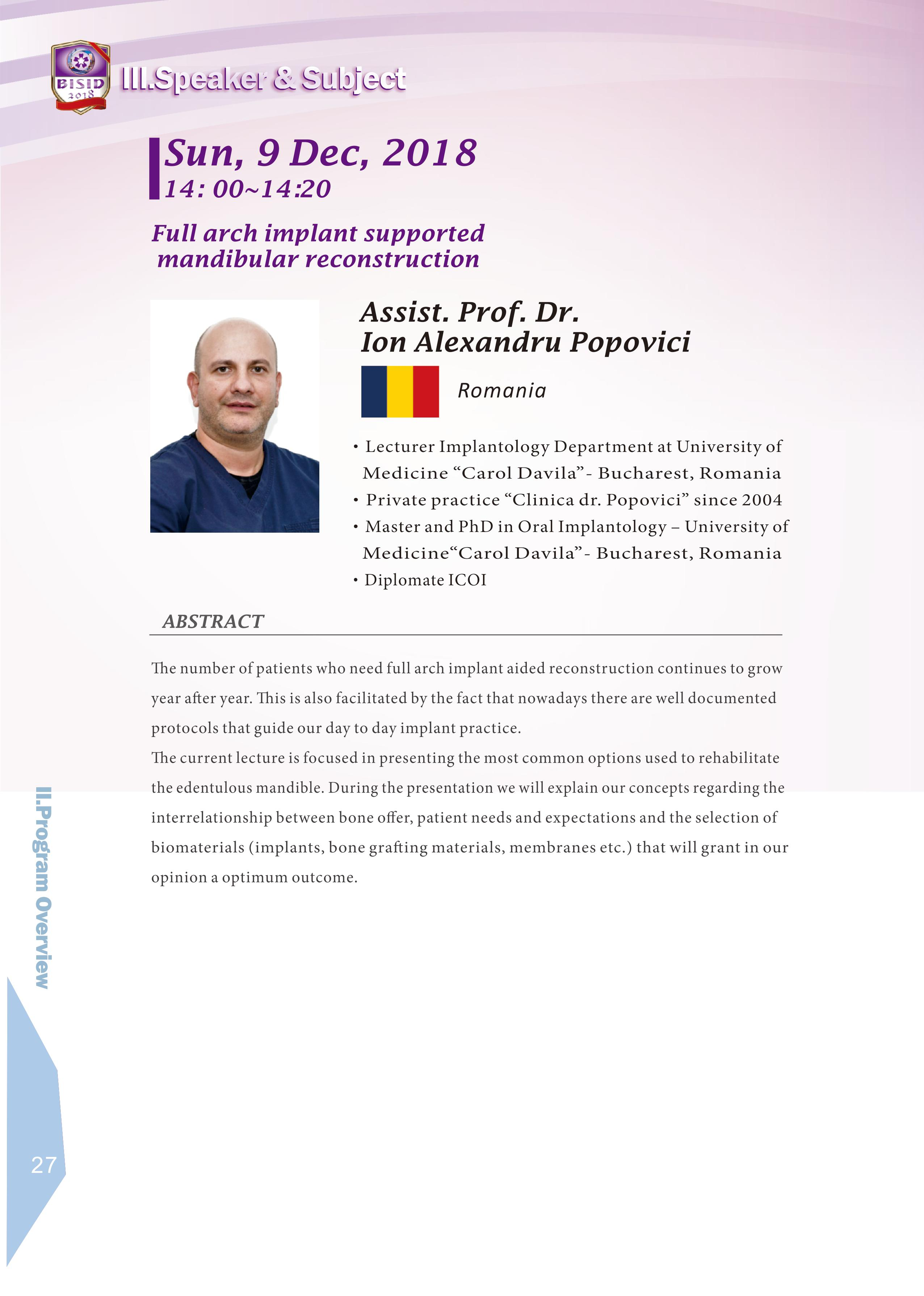 Biomate Internation Symposium of Implant Dentistry-Assist.Porf.Dr.Ion Alexandru Popovici